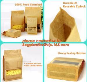 stand up pouch biodegradable zipper bag kraft paper bag, Resealable Snack Stand up Zipper kraft paper Pouch Aluminum Manufactures