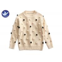 Pompom Ball Decoration Girls Pullover Sweaters Cute Cotton Mock Neck Knit Jumper Manufactures