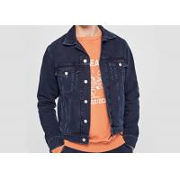 Mid Wash Denim Mens Trucker Seams Bleaching Indigo Long Sleeve Button Through Jacket Manufactures