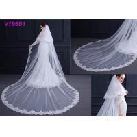 White Women Wedding Gown Accessories Veil With Lace Beading Decoration Design Manufactures