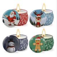 Scented Soy Wax Cute Pattern Christmas Tin Candles Jar With Metal Lid Lightweight Manufactures