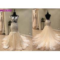 Custom Made Champange Mermaid Style Wedding Dress With Boat Neckline Tulle Manufactures