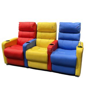 3D Colorful Home Cinema Sofa VIP Leather Theater Seat With Electric Recliner Manufactures