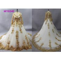 Golden Tulle Long Sleeve Lace Ball Gown Wedding Dress Applique Embroidered Design