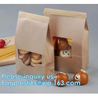 Tin tie tea pouch bag, coffee bean packaging stand up k kraft paper tea paper bag with window Cookie choco pouch Manufactures