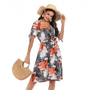 New  fashion women's v-neck floral temperament dress