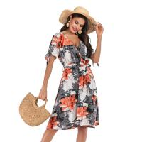 Quality New  fashion women's v-neck floral temperament dress for sale