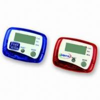Mini Step Counter Pedometers with CE/RoHS Marks, Transparent Appearance, Customized Logos Welcomed Manufactures