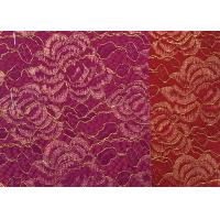 Red Golden Embroidery Sequin Lingerie Lace Fabric For Wedding Dress , Decoration Lace Fabric Manufactures