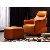 OEM Bedroom Modern Style Wooden Lounge Chair With Orange Color Leather