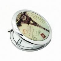 Metal Round Pocket Makeup Mirror in Double Side, with 2x Magnification and 65/70mm Diameter Manufactures