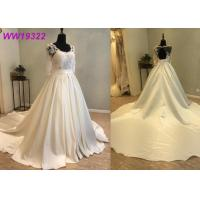 Elegant Lace Voile Bridal Ball Gowns With Long Sleeves Satin Zipper Back Design Manufactures