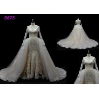 Long Sleeves lace application detached train mermaid wedding dresses Manufactures