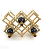 Portable Wooden Foldable Diamond-Shape 8 Bottle Wine Rack Display for Kitchen, Dinning Room, Resting Room Manufactures