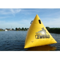 Triathlon Race 1.5m Yellow Custom Logo Floating Triangle ShapeInflatable Marker Buoy For Water Event Manufactures