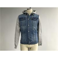 China Light Wash Mens Denim Jacket And Jean With Brushed Fleece Sleeves / Detachable Hood on sale
