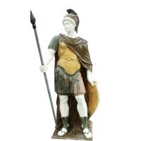 Classic greek stone man statue ,male marble sculpture with shield,China stone carving Sculpture supplier Manufactures