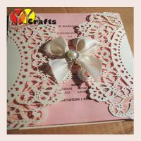 Buy cheap Simple Wedding invitation card , red pearl paper invitation card with tied from wholesalers