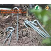 garden pegs, garden pegs, gardening pegs, ground pins, Flat point garden staples, U shaped turf nails, turf pins,Horticu Manufactures