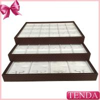 Portable PU Synthetic Genuine Leather White Velvet Stacking Stackable Jewellery Jewellers Jewelry Trays Manufactures