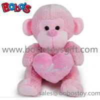 China Wholesale China Funny Pink Monkey Plush Toy With Pink Heart Pillow on sale