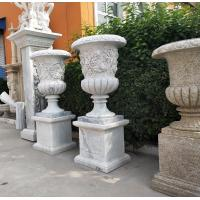 Marble carvings planter stone carved flowerpot sculpture,outdoor stone garden statues supplier Manufactures