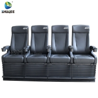 4D Cinema System PU Leather Motion Seat Black Color With 40 Seats Manufactures