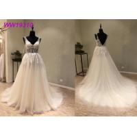 Lace AppliquesWhite Ball Gown Wedding Dress / Long Beautiful Ball Gown Dresses Manufactures