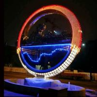 Large metal stainless steel ring sculpture project mirror polish & light ,Stainless steel sculpture supplier Manufactures