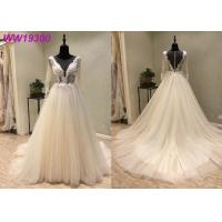 Ivory Long Sleeve Bridal Ball Gowns For Woman Boned And Hidden Bust Support Manufactures