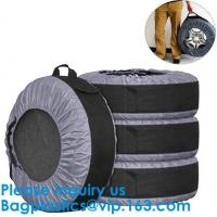 Anti UV Automotive 600D Wheel And Tyre Bags Automotive Spare Tire Tyre Wheel Cover With Carrying Handles Tote Car Wheel Manufactures