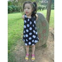 Sequences Little Girls Polka Dot Dress , Bow Shoulder Childrens Chiffon Dresses Manufactures