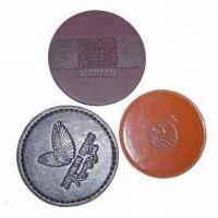 PU Leather Coasters with Holder in Round Shape, Made of PU, Embossed Logos are Available Manufactures