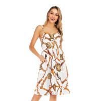 Buy cheap Sleeveless Print Halter Ladies Casual Beach Dresses Ankle Length For Summer from wholesalers