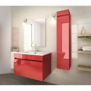 80 Inch Red Single Bathroom Vanity , Good Stability Bathroom Vanity With Sink