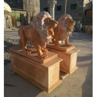 Garden decoration Stone walking lions pink marble animal sculpture,stone carving supplier Manufactures