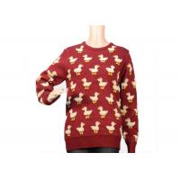 Ladies Crew Neck Red Mohair Sweater Jacquard 9 Gauge Cute Duck Knitted Pattern Manufactures