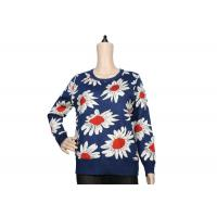 Ladies Navy Blue Womens Knit Sweater Crew Neck Jacquard Pattern For Spring Manufactures