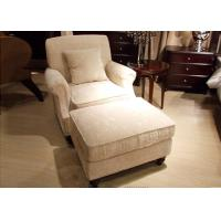 Transitional Arm Chair And Ottoman , Cream Tan Fabric Lounge Chair for Bedroom Manufactures