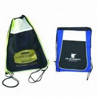 Drawstring Bags, Suitable Promotional Item, Made of Polyester/Nylon, Customized Colors are Accepted Manufactures