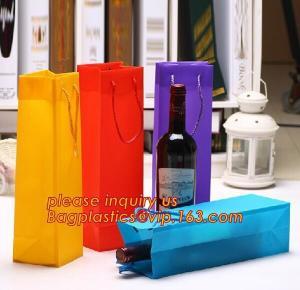 Ribbon Handle eco friendly Plastic PP Package Bag for Flowers Bouquet,Semitransparent PVC Plastic Tote Bag Environmental Manufactures