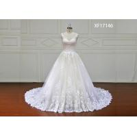 Stunning Organza Lace Bridal Ball Gowns With Long Train Strapless White Color Manufactures