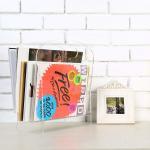 Freestanding Modern Clear Acrylic Magazine Holder Display Stand / File Folder