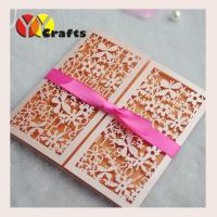 Buy cheap Elegant design pearl paper laser cut lace invitation card with ribbon for from wholesalers