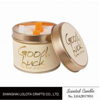 Really Good Smelling Scented Tin Candles With Round And Top Printing Sticker Manufactures