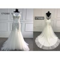 Beautiful White Lace Mermaid Style Wedding Dress With Long Chapel Train Zipper Back Manufactures