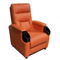 Leather Home Movie Theater Seats VIP Sofa With Tilting Cup Holder Manufactures