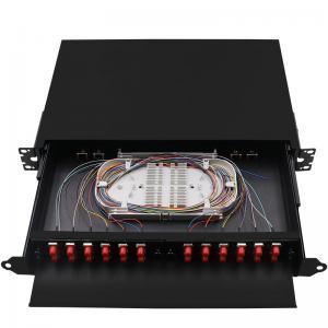 Black Rack Mount Fiber Patch Panel , ODF Ethernet Patch Panel FC 24 Core Pigtail Manufactures