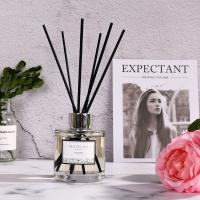 Simple Style Transparent Round Bottle Home Reed Diffuser with Black Sticks Manufactures