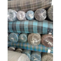 100% Cotton with golden and silver thread check design shirts' fabric stock for grade AAA quality Manufactures